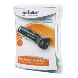 Manhattan PopCharge Auto Duo Adapter USB Charger 2 Port