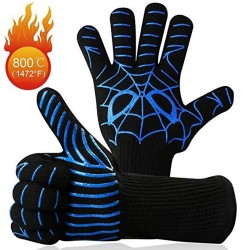 BBQ/Oven Mitts Heat Resistant Up to 800 Degree C Blue Spider Web Pattern