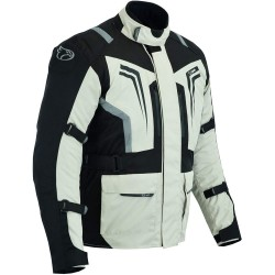 Jet Stomer Textile Motorcycle Jacket, Waterproof Armoured Reflective Black Silver, S