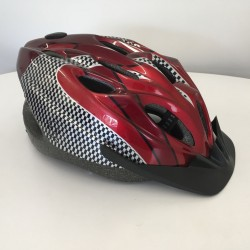 LA Sports Pro + Metalic Red / Chequred Childs/Kids Helmet