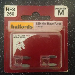 Halfords LED Mini Blade Fuses 4A Pink (pair)