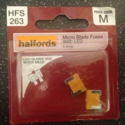 Halfords LED Micro Blade Fuses 5A Yellow (pair)