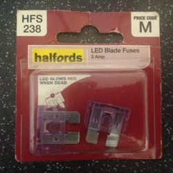 Halfords LED Blade Fuses 3A Purple (pair)