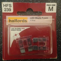 Halfords LED Blade Fuses 4A Pink (pair)