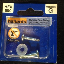 Halfords Number Plate Fixings Self drilling + Dome Cps Blue HFX960