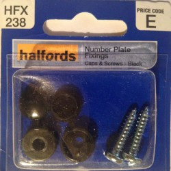 Halfords Number Plate Fixings Caps + Screws Black HFX238