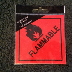 Flammable Warning Sign/Sticker - House Nameplate Co SAV27 10 x 10cm